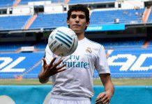 Jesús Vallejo, el día de su presentación con el Real Madrid