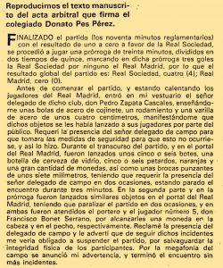 Acta del colegiado sobre los incidentes de Atocha