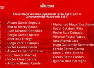 La relación de convocados por España sub 17
