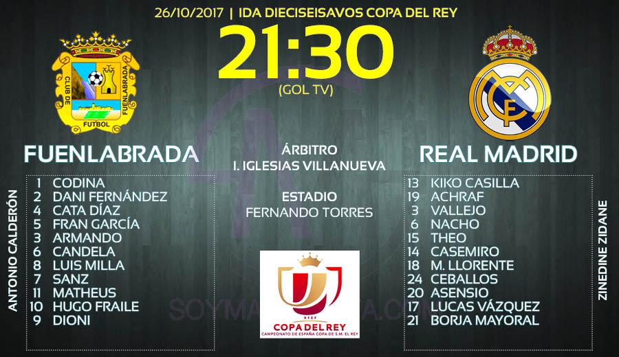 Posibles onces Fuenlabrada - Real Madrid Copa del Rey