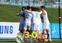 El Castilla celebra el gol de Javi que abría la lata