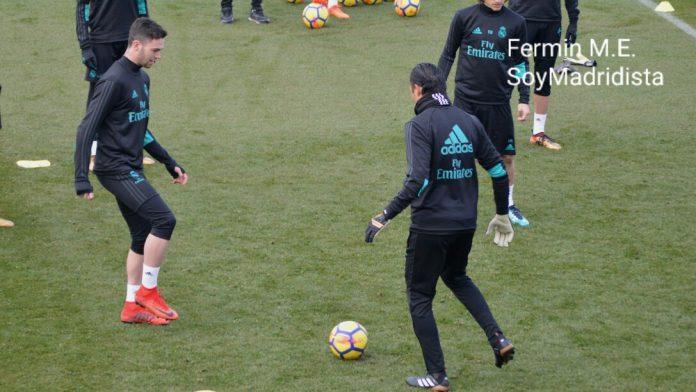 Manu Hernando en el entrenamiento con el primer equipo