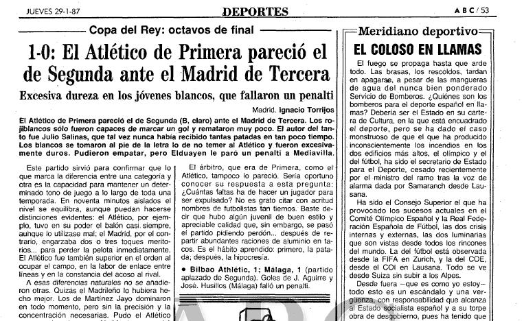 Crónica del ABC del Atlético-Real Madrid aficionados, Copa del Rey 1986-1987